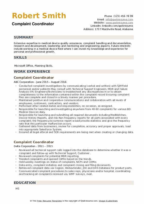 Complaint Coordinator Resume example