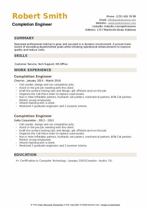 Completion Engineer Resume example