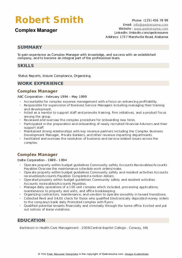 Complex Manager Resume example