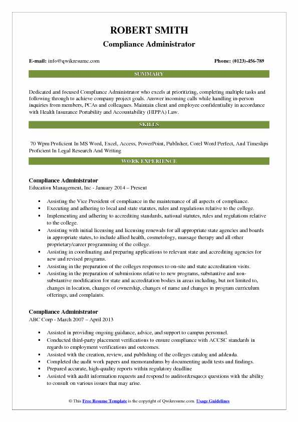 Compliance Administrator Resume Template