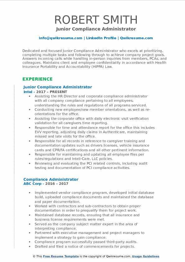Junior Compliance Administrator Resume Example