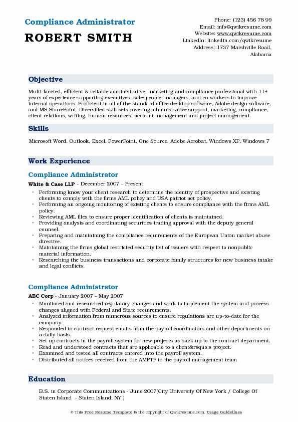 Compliance Administrator Resume Example