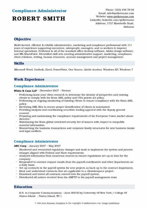 Compliance Administrator Resume Sample
