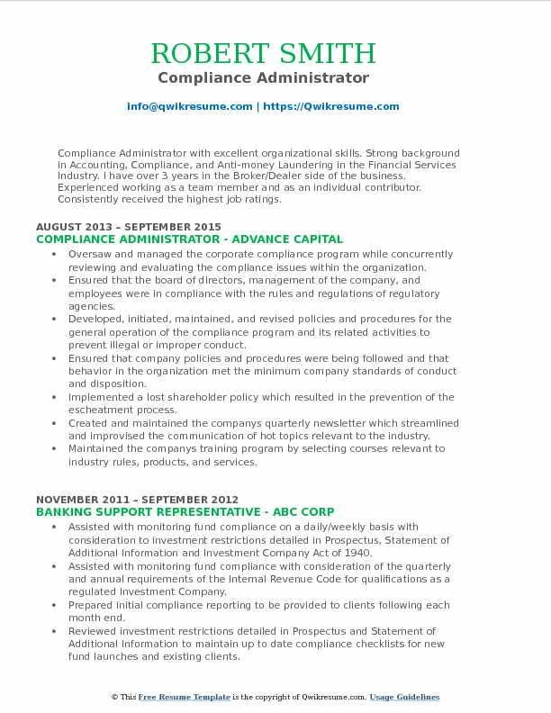 Compliance Administrator Resume Model