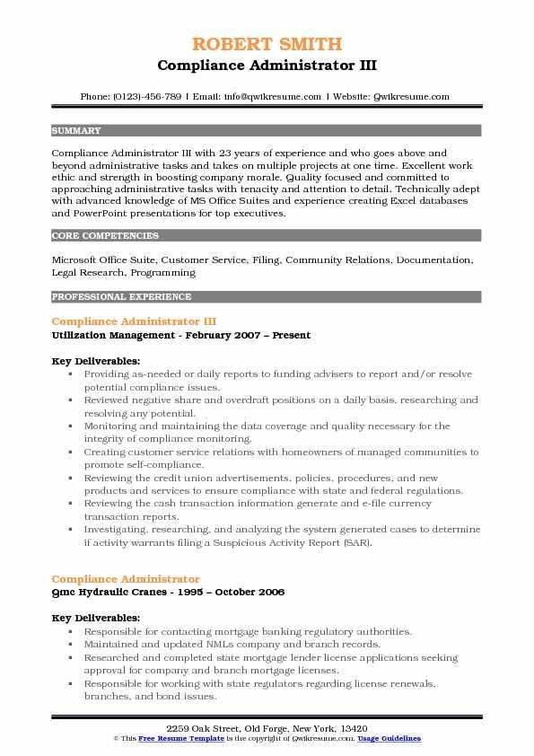 Compliance Administrator III Resume Template