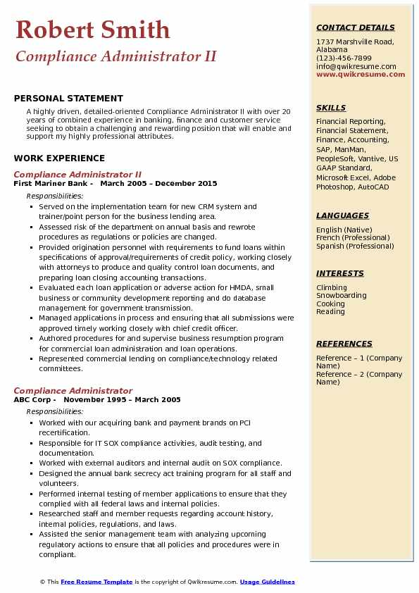 Compliance Administrator Resume Samples Qwikresume