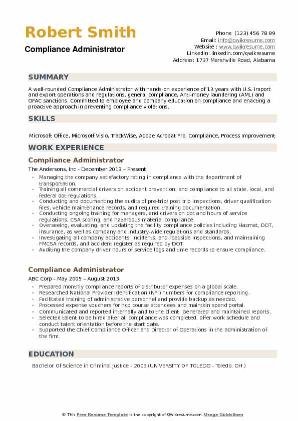 compliance administrator resume samples