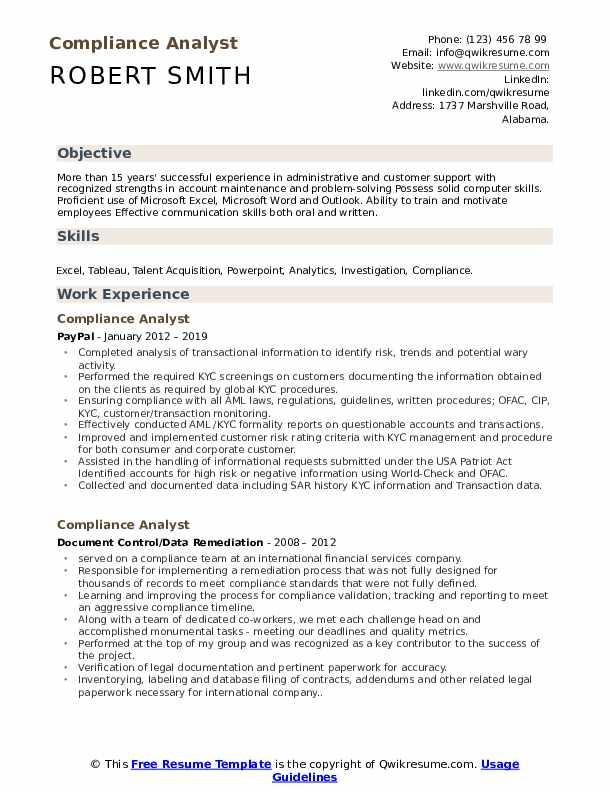 Compliance Analyst Resume Model