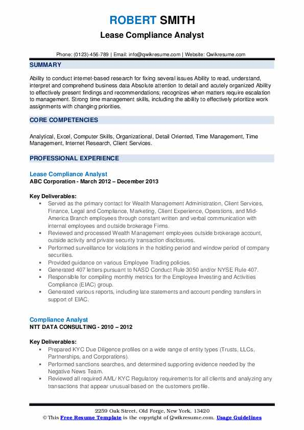 Lease Compliance Analyst Resume Format