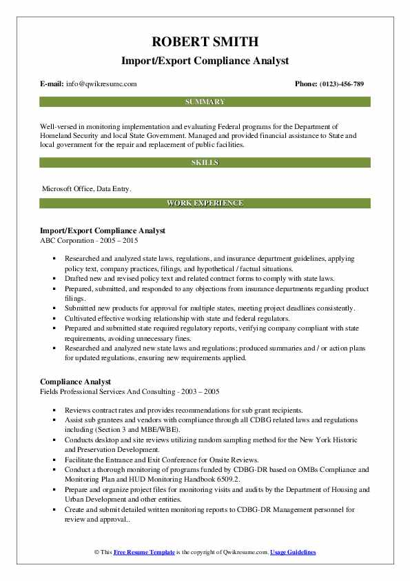 Import/Export Compliance Analyst Resume Example