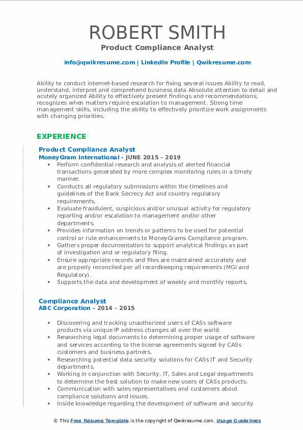 Product Compliance Analyst Resume Sample