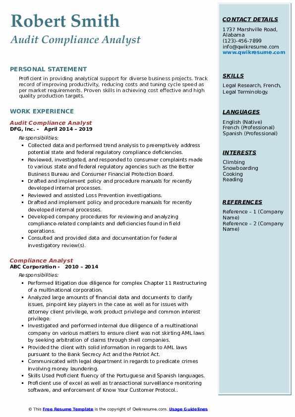 Audit Compliance Analyst Resume Model