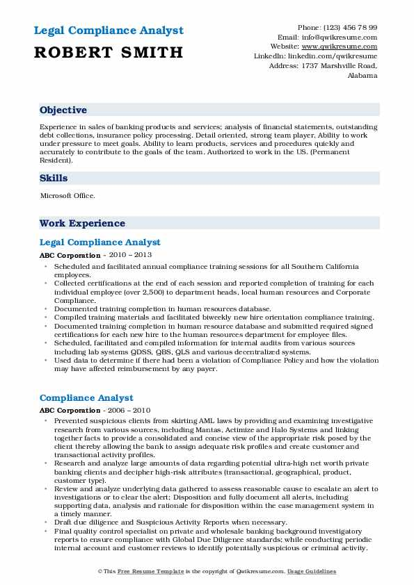 Legal Compliance Analyst Resume Model