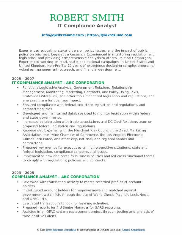 IT Compliance Analyst Resume Model