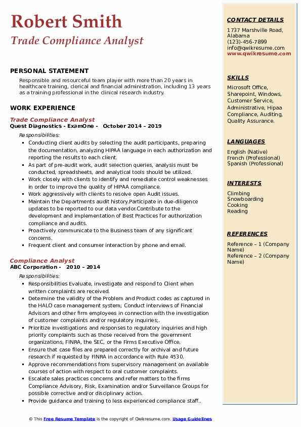 Compliance Analyst Resume Samples Qwikresume