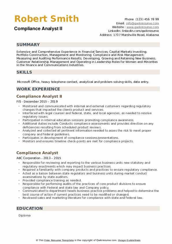 Compliance Analyst II Resume Sample