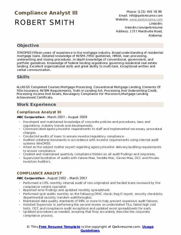 Compliance Analyst III Resume Model