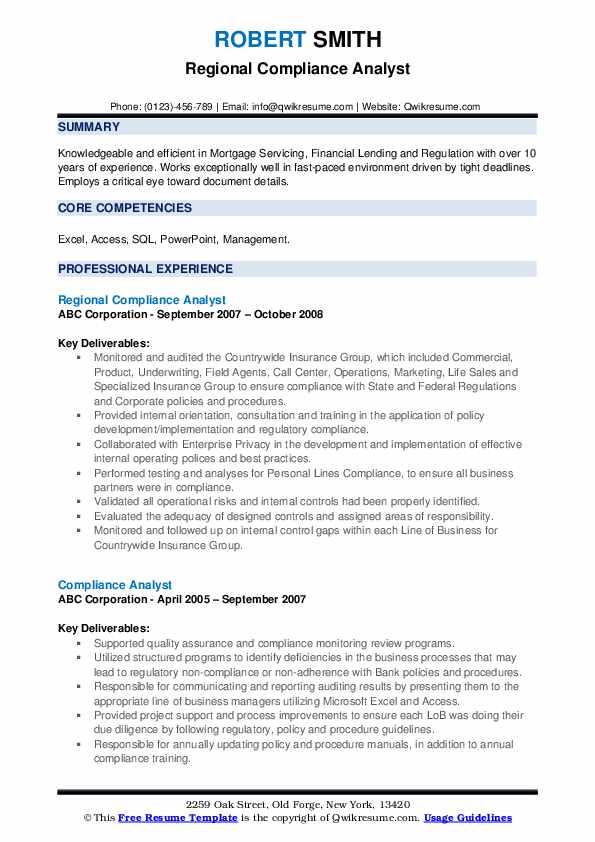 Regional Compliance Analyst Resume Model