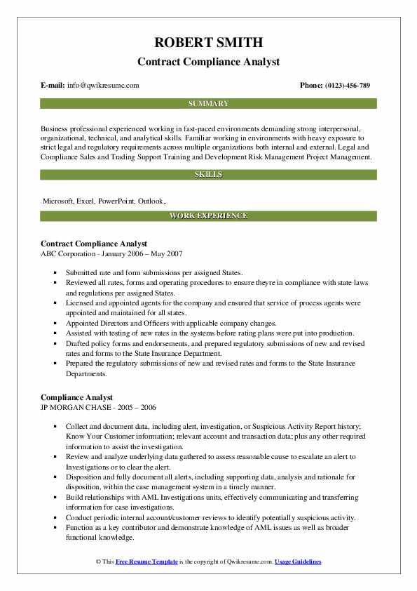 Contract Compliance Analyst Resume Model