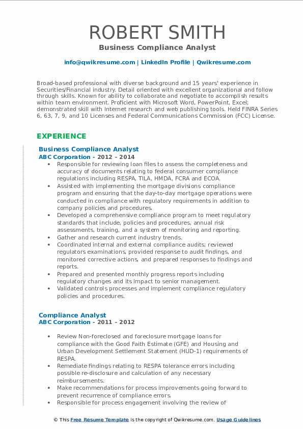 Business Compliance Analyst Resume Sample