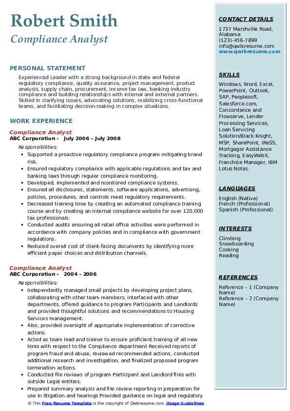 Compliance Analyst Resume Samples | QwikResume