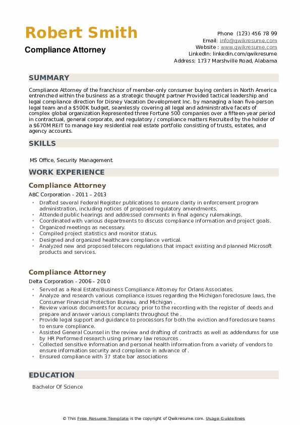 Compliance Attorney Resume example