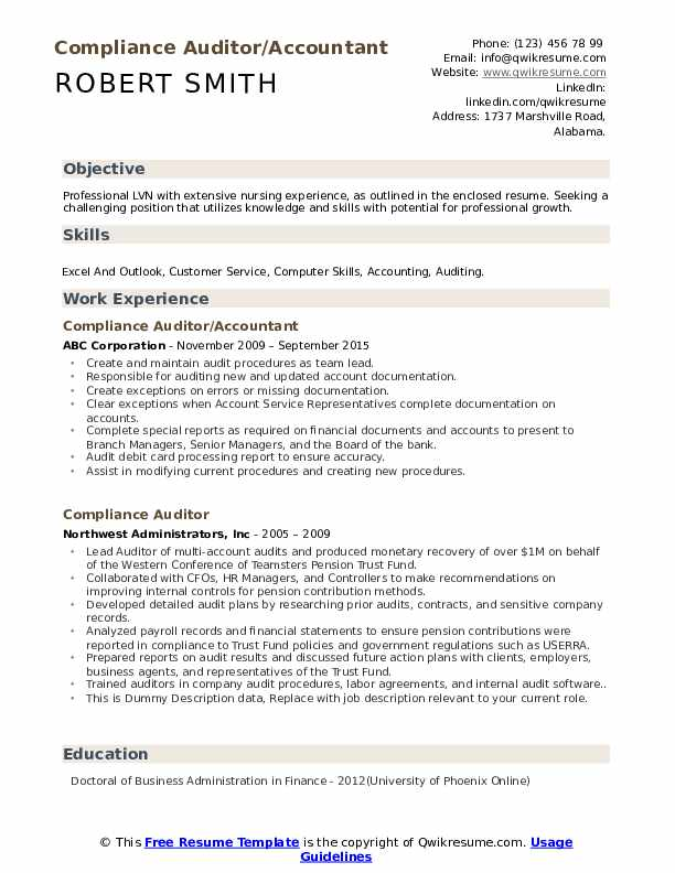 compliance auditor resume samples
