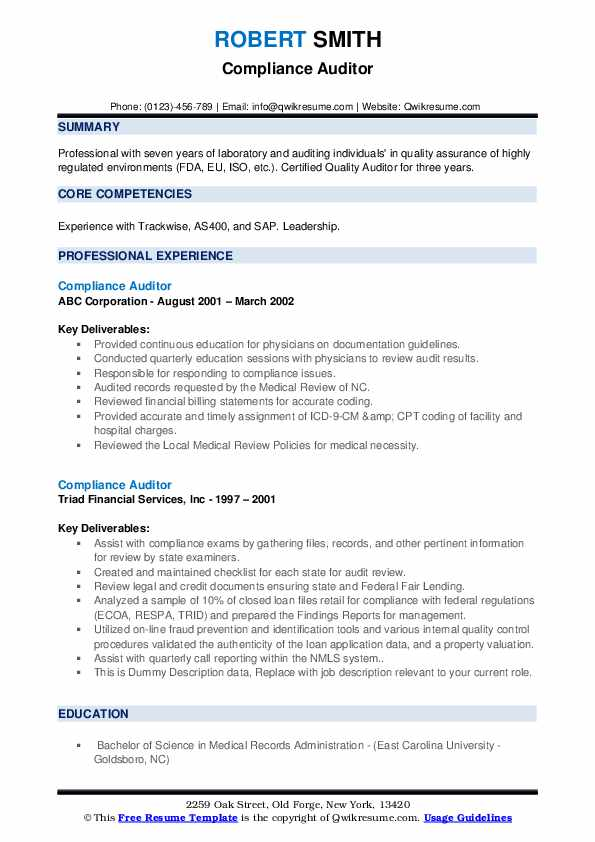 Compliance Auditor Resume example