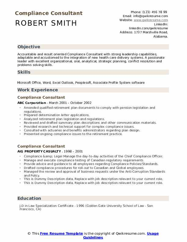 Compliance Consultant Resume example