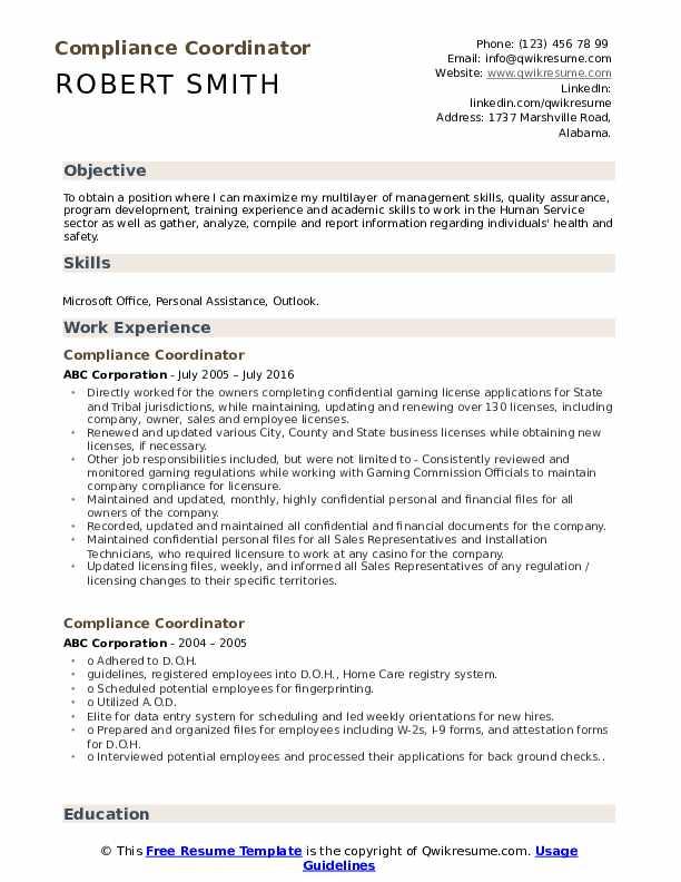 Compliance Coordinator Resume Model