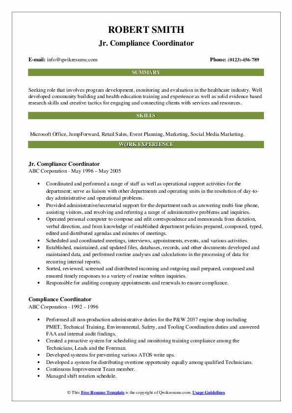 Jr. Compliance Coordinator Resume Template