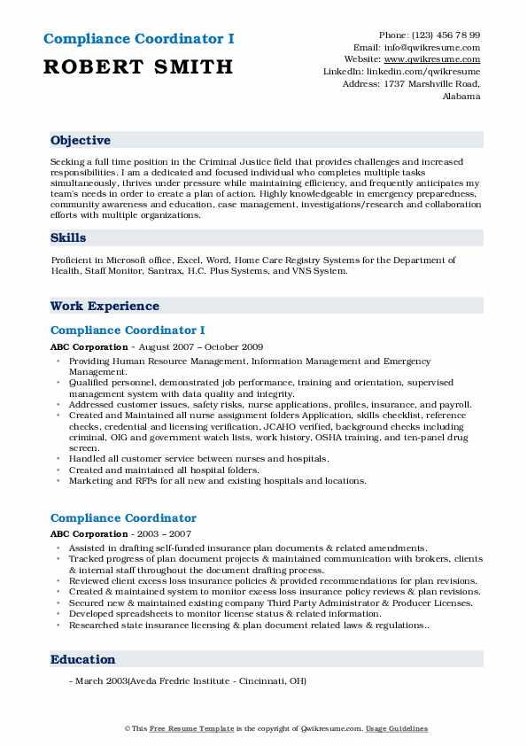 Compliance Coordinator I Resume Sample
