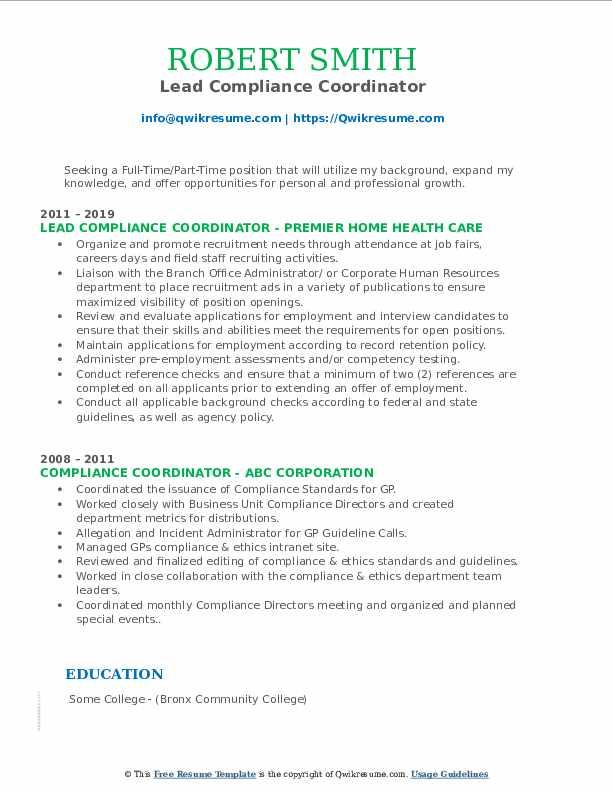 Lead Compliance Coordinator Resume Template