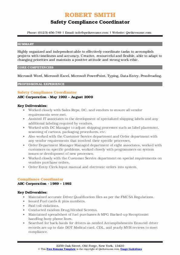 Safety Compliance Coordinator Resume Format