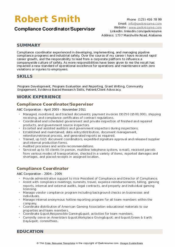 Compliance Coordinator/Supervisor Resume Format