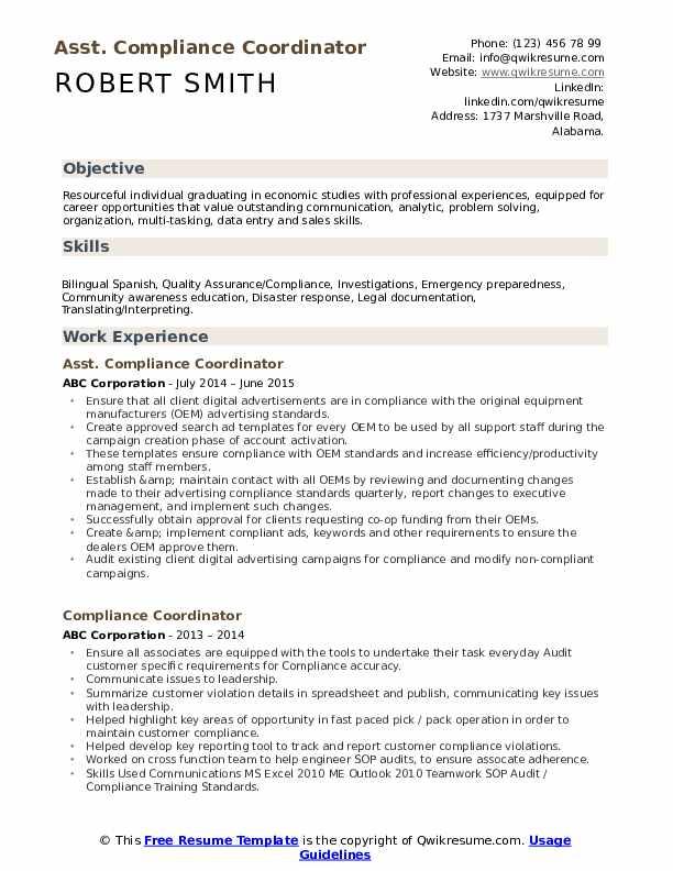 Asst. Compliance Coordinator Resume Sample