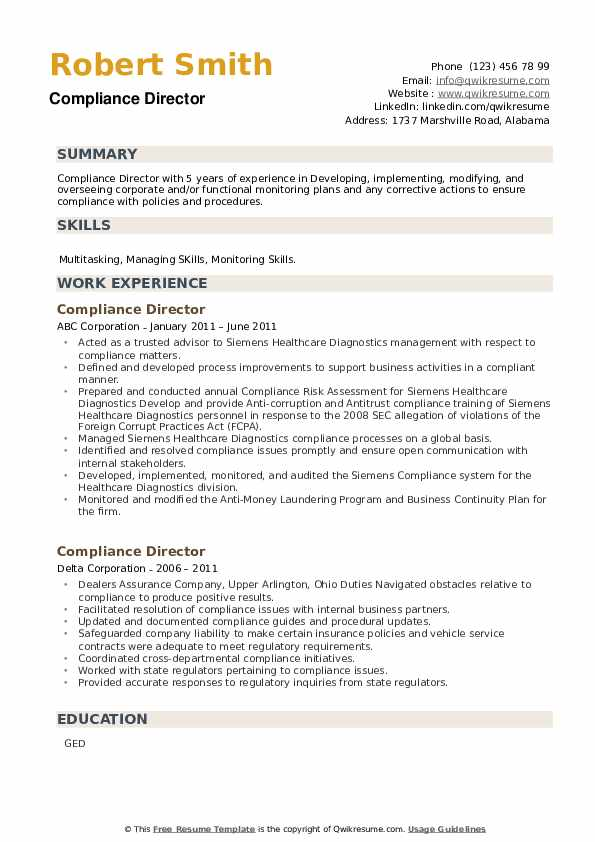 Compliance Director Resume example