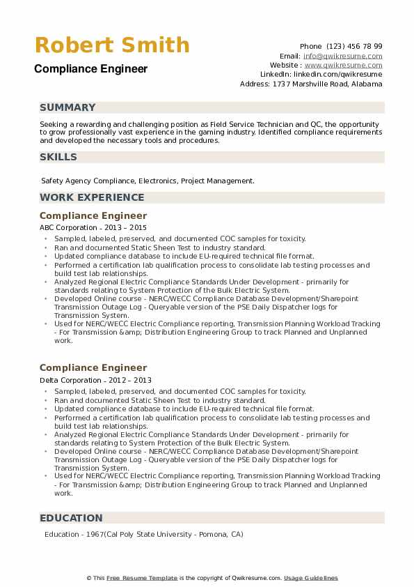 Compliance Engineer Resume example