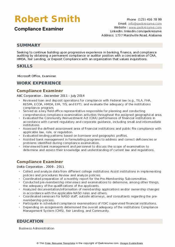 Compliance Examiner Resume example