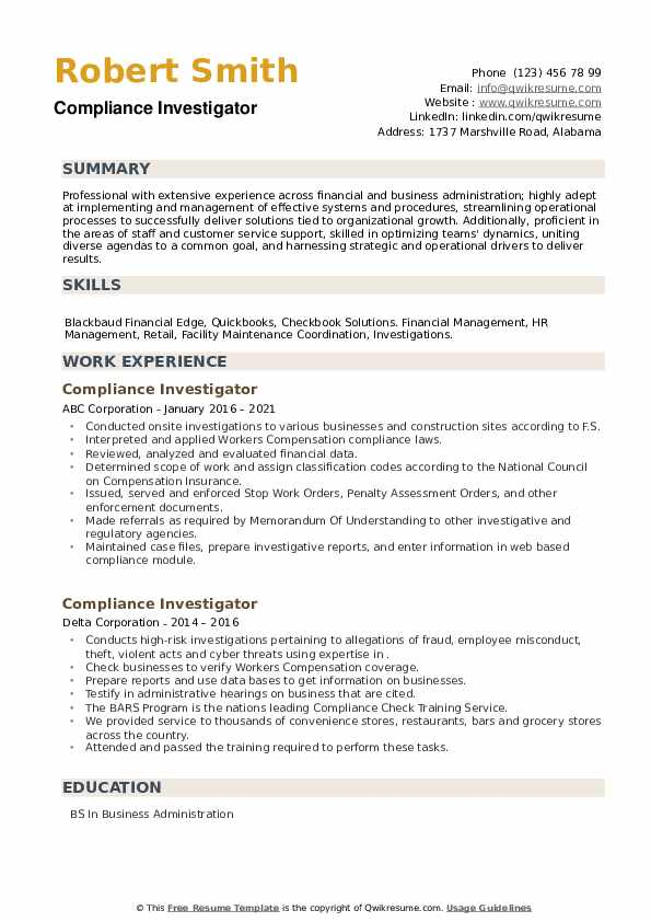 Compliance Investigator Resume example
