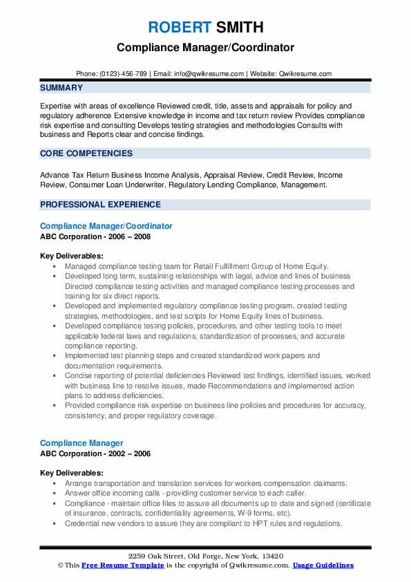 Compliance Manager/Coordinator Resume Template