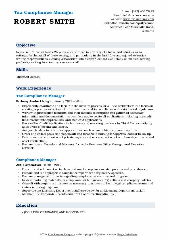 Tax Compliance Manager Resume Model