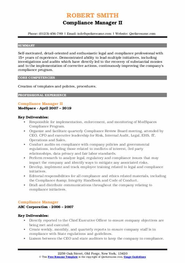 Compliance Manager II Resume Model