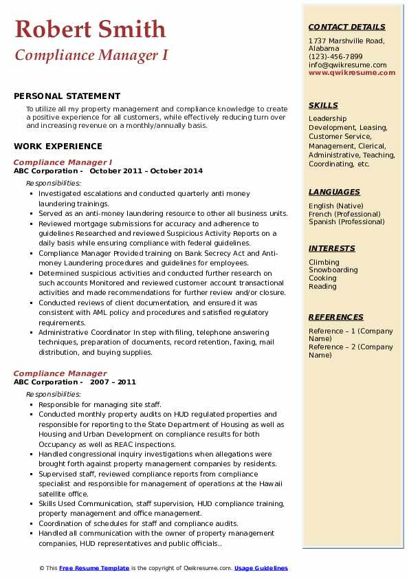 Compliance Manager I Resume Format
