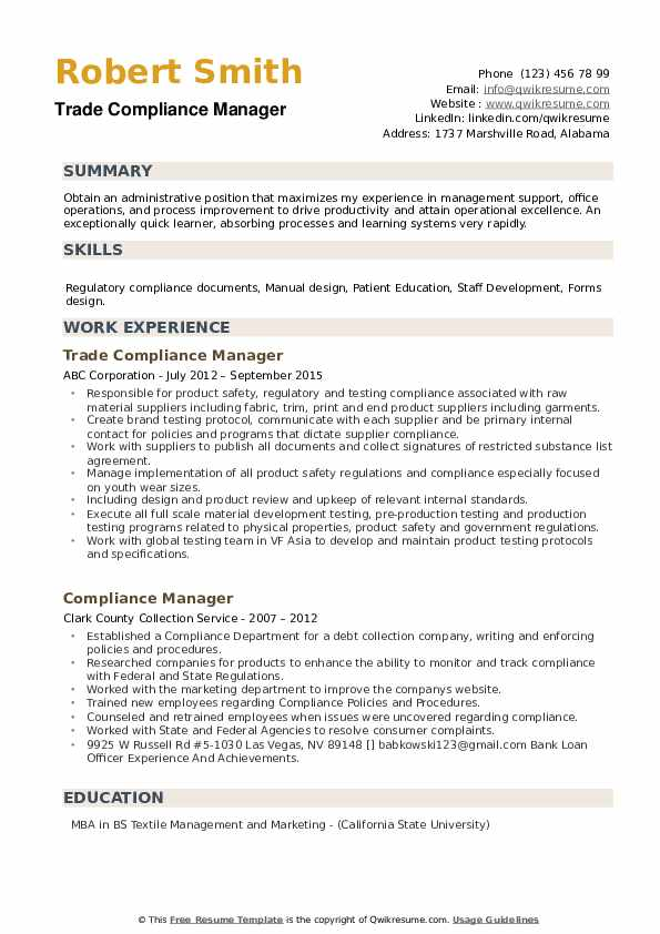Trade Compliance Manager Resume Format
