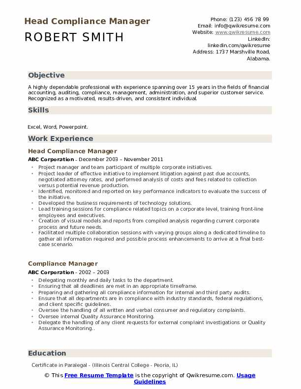 Head Compliance Manager Resume Model