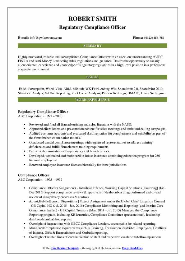 compliance officer resume samples