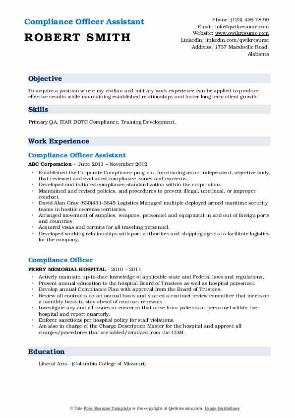 Compliance Officer Assistant Resume Sample