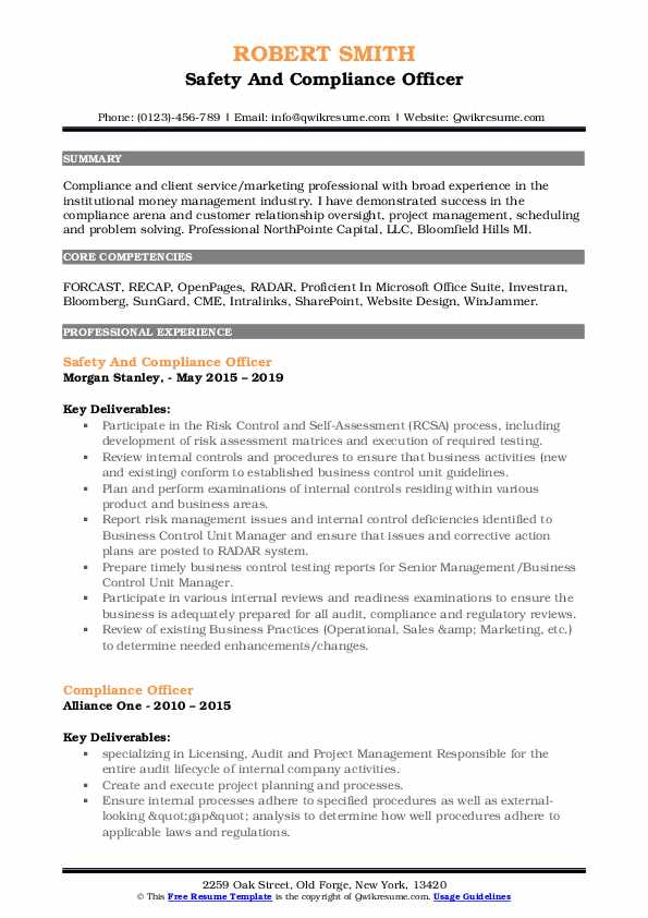 Safety And Compliance Officer Resume Sample