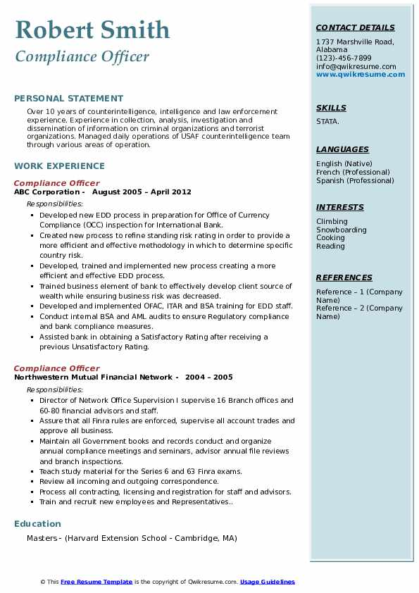 Compliance Officer Resume Samples Qwikresume
